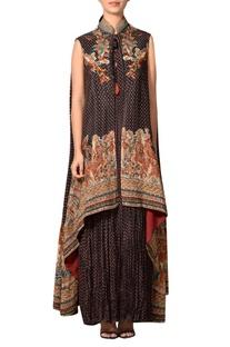 Black & rust rayon crepe halter maxi dress with overcoat