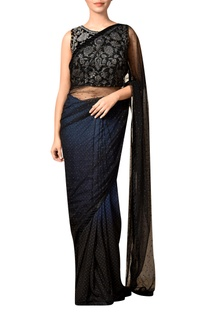 Indigo & black nylon net embroidered sari with blouse