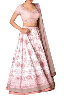 Pink polyester dupion embroidered lehenga with blouse & dupatta