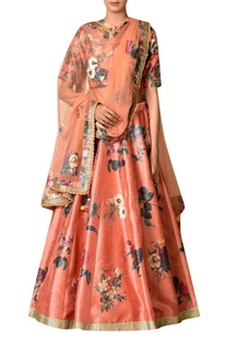Rust polyester dupion embroidered lehenga with blouse & dupatta