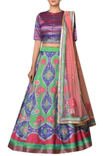 Emerald green & purple polyester dupion embroidered lehenga with blouse & dupatta