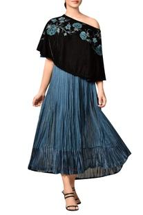 Black off shoulder velvet cape with blue pleated kurta