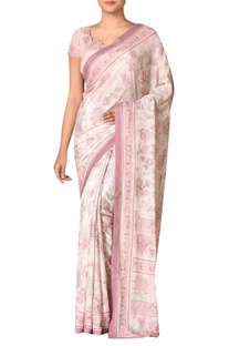 Old rose viscose chinon embroidered saree with blouse