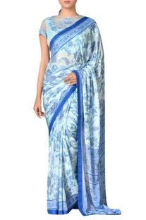 Aqua blue viscose chinon embroidered saree with blouse