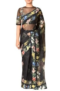 Black silk organza embroidered saree with blouse