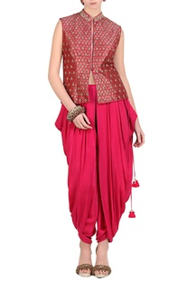 Hot pink brocade embroidered short jacket with dhoti pants