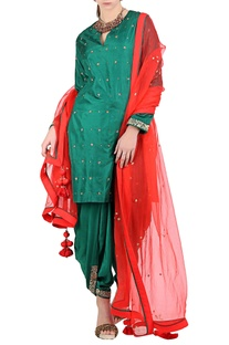 Emerald green silk embroidered kurta dhoti set