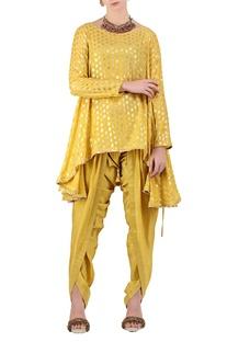 Sunny yellow crepe silk foil printed asymmetric kurta with dhoti pants