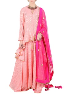 Rose pink foil printed asymmetric kurta with lehenga & dupatta