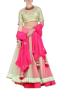Pista green & pink double layered net lehenga set
