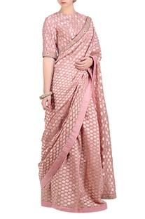 Lavender pink chanderi brocade saree with blouse