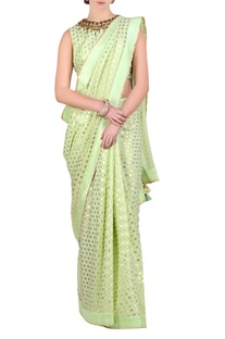 Mint green foil printed sari with blouse