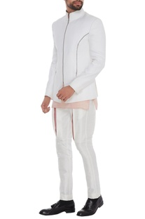 White bandhgala with onion pink satin cotton kurta & white jodhpuri pants