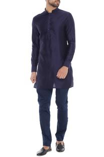 Navy blue spun silk short kurta