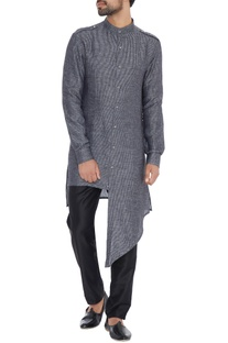 Dark grey linen asymmetric kurta
