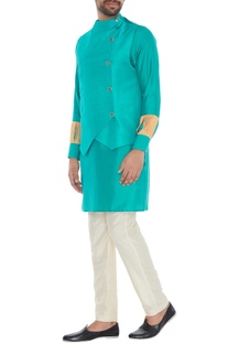 Turquoise suede kurta with built-in waistcoat
