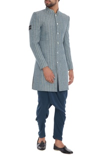 Grey pinstripe organic cotton & bamboo fabric sherwani jacket