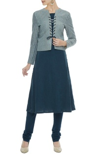 Grey pinstripe organic cotton & bamboo fiber lace-up jacket