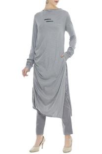 Grey hoisery knit bamboo fabric draped tunic dress
