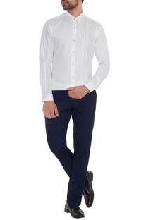White cotton machine embroidered slim fit shirt