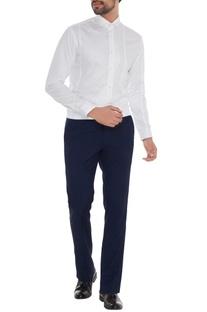 White cotton applique work slim fit shirt
