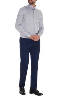 Light grey cotton metallic accent slim fit shirt