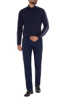 Navy blue cotton machine embroidered slim fit shirt