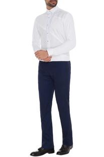 White linen cotton jersey printed slim fit shirt
