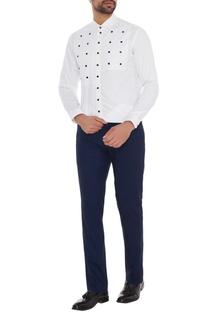 White cotton button detailing slim fit shirt