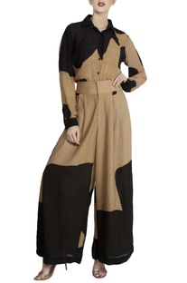 Black repier cotton color-blocked shirt with palazzos