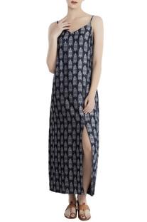 Teal blue denim jacquard printed slip dress