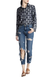 Teal blue denim jacquard printed shirt