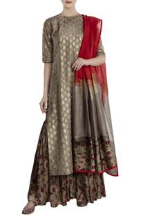 Grey silk, satin & chanderi kalash print sharara with kurta & dupatta