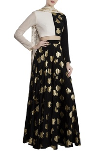Black & white crepe half-and-half fish print lehenga with blouse & dupatta