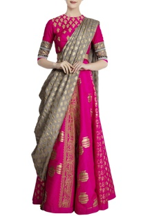 Hot pink & olive green silk embellished lehenga with blouse & dupatta
