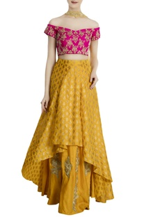Yellow & pink silk & net kalash high-low lehenga with blouse & dupatta