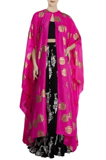 Pink & black silk & crepe tribal vase print cape with skirt & blouse