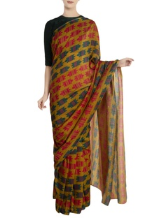 Green nile crocodile motif saree with unstitched blouse piece
