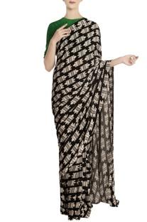 Multicolored nile crocodile motif saree with unstitched blouse piece