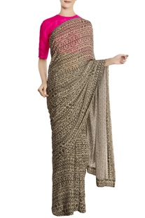 Cream & black chiffon silk bird's eye printed saree with blouse piece