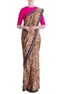 Mint green chanderi silk floral saree with unstitched blouse