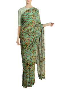 Aqua chiffon silk floral saree with unstitched blouse
