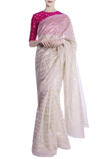 Ivory khadi leaf motif saree with blouse piece