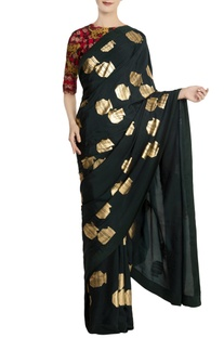 Teal crepe silk tribal vase saree with red blouse piece