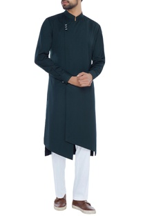 Green achkan style asymmetric kurta with pyjama pants