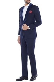Blue zigzag lapel tuxedo jacket with pants