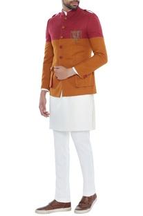 Red & mustard color-block brushed cotton jacket set