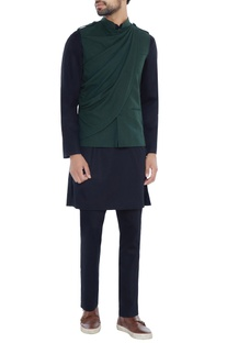 Green twill nehru jacket