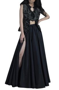 Black polyester panelled umbrella skirt