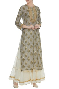 Grey cotton silk zari sequin work kurta with off white chanderi sharara